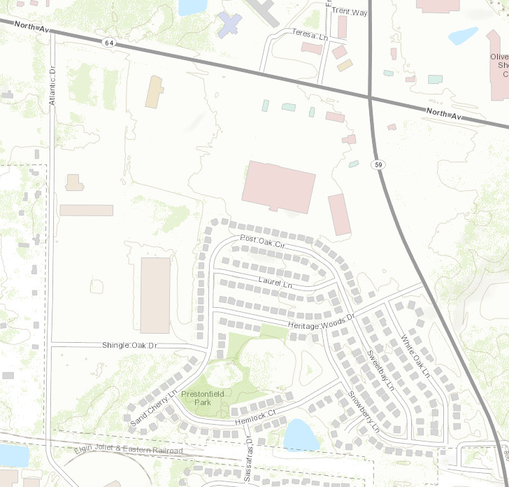 A land-use map of the intersection near where I grew up.